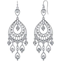 1928 Jewelry Crystal Filigree Teardrop Dangle Earrings ($34) ❤ liked on Polyvore featuring jewelry, earrings, long crystal earrings, nickel free jewelry, nickel free earrings, womens jewellery and dangle earrings