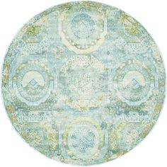 Unique Loom Coppelia Baracoa Light Blue/Beige Round Indoor Machine-Made Bohemian/Eclectic Area Rug (Common: 5 X Actua Teal Area Rug, Light Blue Area Rug, Beige Area Rugs, Light Colors, Polypropylene Rugs, Round Area Rugs, Repeating Patterns, Animals For Kids, Rugs Online