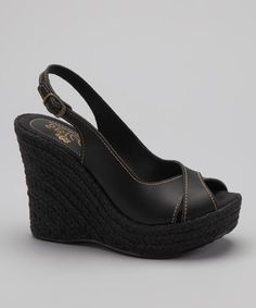 Take a look at this Black Priscilla Slingback Wedge Shoe by Sbicca on #zulily today!