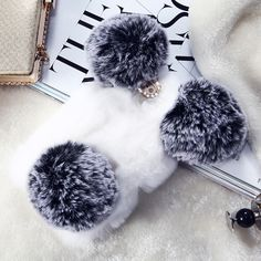 Fashion Winter Warm Rabbit Hair Panda Design Phone Cases For iPhone 6 6S Plus Caes Fluffy Fur Hairy Cover For iPhone 7 7 Plus