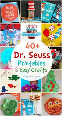 """Our Dr. Seuss Craft Lightning week has come to an end. I've shared some a fun Dr. Seuss """"read"""" quote printable, easy Dr. Seuss puzzle, and some """"one fish two fish"""" bath toys. A bu…"""