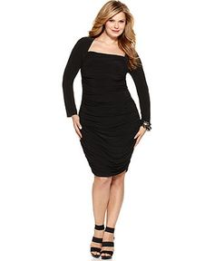 Tahari Woman Plus Size Dress, Patty Long Sleeve Ruched - Dresses - Plus Sizes - Macy's - I so want this dress!!