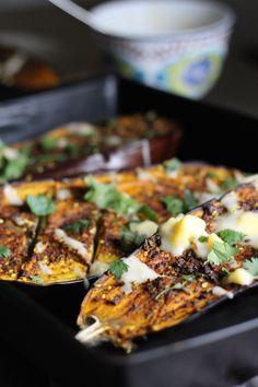 Tumeric and Chili Roasted Eggplant with Spicy Mango Yogurt