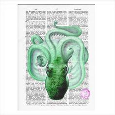 Green Octopus Vintage Dictionary Art Print
