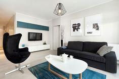 상쾌한 블루컬러 포인트가 인상적인 아파트 디자인 폴란드에 위치한 아파트 입니다^ ^ 모던 콘셉트 인테리...