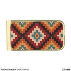 Romanian Motifs Gold Finish Money Clip