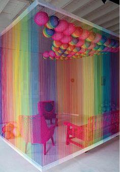 The rainbow room installation by pierre le riche—–Colorful love it woooooooooooow! this will be a COLORS office - The rainbow room installation by pierre le riche-----Colorful love it wooooooooo. Rainbow Room, Rainbow Colors, Rainbow Art, Rainbow Flag, Rainbow House, Rainbow Things, Rainbow Candy, Instalation Art, Yarn Bombing