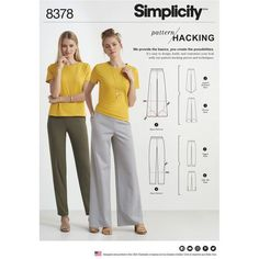Simplicity Pattern 8378 Misses' Knit Pants with Two Leg Widths and Options for Design Hacking