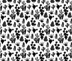 Cactus garden and succulent cacti plants for summer cool scandinavian style gender neutral black and white - Cactus wallpaper and fabric available via Spoonflower designed by Little Smilemakers Studio