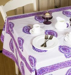 Purple Tablecloth - Paisley Tablecloth - Hand Block Printed from Attiser