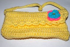 yellow crocheted purse bright summer clutch one of by mylittlebows,