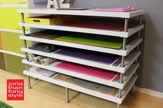 DIY storage solution for large sheets of paper and art supplies