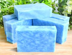 This soap is for those with an obsession for blue. Its made with specks of three different shades of blue, and we loved this design so much that we