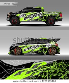 Pick up truck and hatchback car decal design vector. Graphic abstract stripe racing background kit designs for wrap vehicle, race car, branding car and car livery. Car Paint Jobs, Truck Paint, Rc Cars And Trucks, Trucks And Girls, Pick Up, Rc Car Bodies, Hatchback Cars, Car Painting, Rally Car