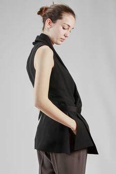 Rick Owens | hip length waistcoat in acetate and viscose khady, cupro lined | #rickowens