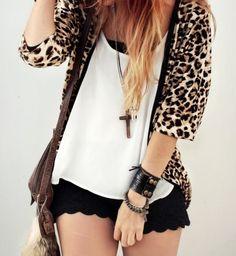 loose cheetah cardigan, black lace shorts