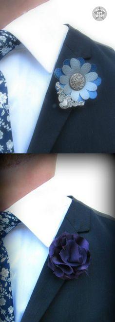 Fabric Flower Boutonnieres & Faux Leather Steampunk Lapel Pins   blowingawayoutwest.com - Fabric Flower Boutonnieres & Faux Leather Steampunk Lapel Pins Tutorial #steampunkboutonnieres #fabricflowerboutonnieres #weddingboutonnieres #steampunklapelpin #lapelpin #fauxleatherflower