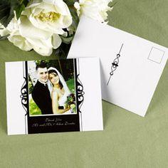 Ebony Photo Thank You Postcard at Quaint Wedding Stationery