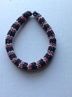 Black, White, Red and Gray Hexafish Rubber Band Friendship Bracelet Bangle