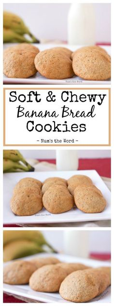Soft & Chewy Banana Cookies are the perfect Breakfast, Snack or Dessert! It's… Soft & Chewy Banana Cookies are the perfect Breakfast, Snack or Dessert! It's my favorite Banana Bread Recipe turned into a cookie! Banana Bread Cookies, Chocolate Chip Cookies, Brownie Cookies, Cookies Et Biscuits, Cookies Soft, Healthy Banana Cookies, Banana Cookie Recipe, Coffee Cookies, Mini Desserts