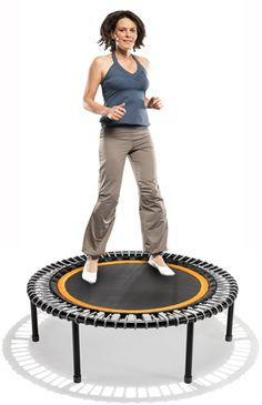 bouncing on bellicon rebounder-this is what I'm doing to strengthen my core and get in shape! The calories it burns is a staggering 750 an hour!