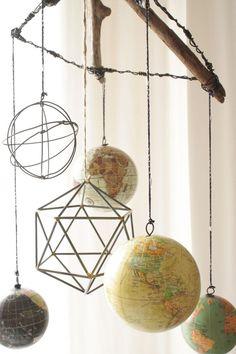 Geometric Modern/Vintage Globe Mobile // Wanderlust Nursery by femmenouveau on Etsy www.etsy.com/...