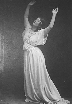 Isadora Duncan traced the art of dance back to its roots as a sacred art. She developed within this idea, free and natural movements inspired by the classical Greek arts, folk dances, social dances, nature, and natural forces.