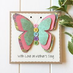 Beautiful, elegant handmade 3D butterfly card. Wonderfully pretty, this colourful card is perfect for Mothers Day, birthdays, anniversaries or as a sweet thank you. The wording on the front will say With Love on Mothers Day unless you specify something different in the Notes section when placing your order. Your card will come with a hand stamped envelope for an extra personal touch. It will come packaged in a protective cellophane cover and delivered in a secure padded envelope to ensure…