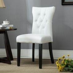 Dining Faux Leather Tufted Accent Living Room Nailhead Button Side Chairs in white