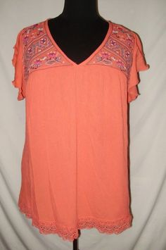 ad60a4b8fd3 Terra Sky Womens Plus Size 22W 2X Peach Embroidered Lacy Short Sleeved  V-Neck M
