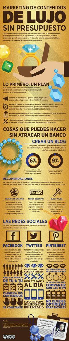 Marketing de Contenidos de Lujo (sin presupuesto). Infografía en español. #CommunityManager