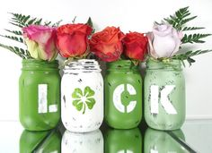LUCK set of 4 four Hand Painted Rustic Mason Jar by curiouscarrie