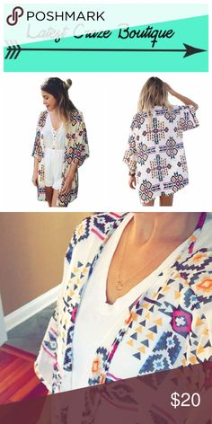   new   Aztec Kimono 💥PRICE FIRM💥 This is airy & light! Aztec printed chiffon, open front with short sleeves & V-neck. Beautiful colors! Polyester.  Length: S- 27in M- 28in L- 29in All measurements are approximate. Latest Craze Boutique Tops