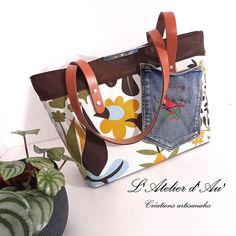 Sac Madison en toile vintage et simili cuir cousu par L'Atelier d'Au' - Patron Sacôtin