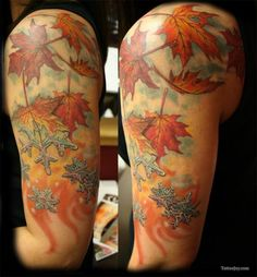Maple Leaf and snowflake tattoos!  This is nearly exactly what I want, though I want mine on separate shoulders, coming together into spring on my back