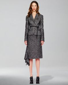 Double-Faced Herringbone Draped Skirt by Michael Kors at Neiman Marcus.