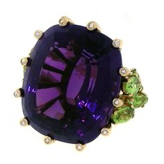 1stdibs | 65ct Amethyst, Peridot and Diamond Ring