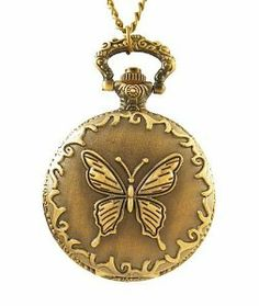"""Steampunk Pendant Watch -Vintage Style Butterfly Design on Lid with 28"""" Chain Geneva. $12.99"""