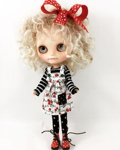 Made For Blythe Pullip Dolls Jumper T Shirt Leggings Hair Bow Cherries Stripes and Dots