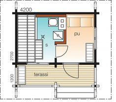 Mäntylä A    Kerrosala 12 m²  Kokonaiskäyttöala 17,5 m²       Klassinen saunamökki, jossa yhdistetty löyly- ja pesutila luo perinteisen saunatunnelman. Tarvittaessa pukuhuone toimii myös majoitustilana.
