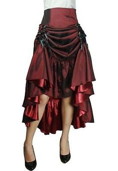 THREE WAY LACE UP RENAISSANCE SKIRT BURGUNDY RED GOTHIC VICTORIAN STEAMPUNK PUNK