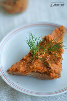 jadłonomia · roślinne przepisy: Wegetariański paprykarz Lunch Snacks, Some Recipe, Meatloaf, Steak, Vegan Recipes, Veggies, Gluten Free, Favorite Recipes, Cooking