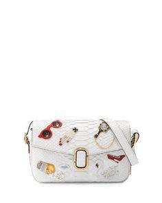 af1f9135ede Marc Jacobs aged python shoulder bag with embroidered patches. Golden  hardware. Removable, adjustable