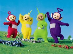 Teletubbies. Tellitubbies is a little kid show. this used to be one of my favorite little kid show right next to the boobahs. my sisters cousins and i used to watch them a lot when my mom used to babysit us all. we used to print out pictures of them and color them also. the purple one was my favorite tellitubbie. when we were little we picked out which one we wanted to be. i always thought the sun in the show was scary because it was a baby face.