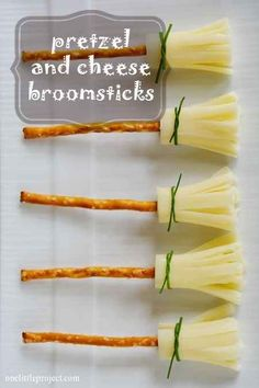 Pretzel sticks, string cheese, and chives make adorable broomstick snacks. | 33 Cheap And Easy Ways To Throw An Epic Harry Potter Halloween Party