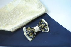 Gold brocade navy blue bow tie with gold embroidery For wedding in navy gold colours pallette Groomsmen bowties For groom Sparkle men's gift by accessories482 on Etsy