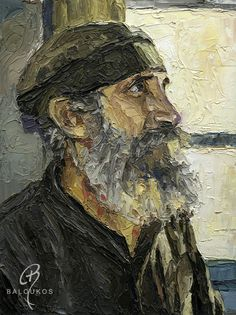 paintings palette knife portraits mount athos themes agio oros greece  www.baloukos.com