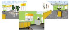 Puuhamaan buffet-ravintolan sisustussuunnitelma, viihtyisyyden ja akustiikan parantaminen / interior design for buffe-restaurant in amusement park Puuhamaa. // Tilaaja/Client: Tervakosken Puuhamaa Oy //  Suunnittelija/Designer: Maria Kojo //
