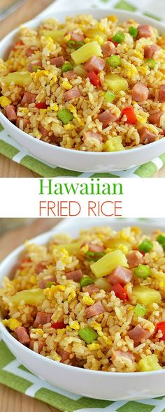 Hawaiian Fried Rice Diced ham, pineapple and bell pepper tossed together to create the yummiest fried rice ever! Hawaiian Fried Rice, Hawaiian Dishes, Hawaiian Recipes, Pineapple Fried Rice, Hawaii Food Recipes, Hawaiian Theme, Hawaiian Luau Food, Hawaiian Salad, Salads