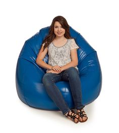 Fun and Function Large Bean Bag Chair Navy Blue Large Bean Bag Chairs, Fancy, Wet Look, Vinyl, Royal Blue, Chic Desk, Pink Chairs, Contemporary Chairs, Classic